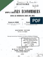 Economie Charles Gide, Charles Rist - Histoire Des Doctrines Economiques Depuis Les Physiocrates Jusqu'a Nos Jours (1922)