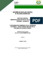 TAREA DE UNA VISITA DE CONTROL DE LA QUEBRADA COCHEROS - AGUAS VERDES.
