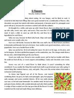 5 Flavors Fifth Grade Reading Comprehension Worksheet
