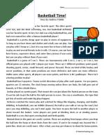 Basketball Time Fifth Grade Reading Comprehension Worksheet