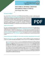 Nota Preliminar de la Academia Nacional de Medicina sobre el antiviral Carvativir como medicamento para el COVID-19