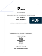 Metro Board of Directors meeting agenda, January 2021