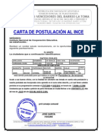 Carta de Postulacion Inces