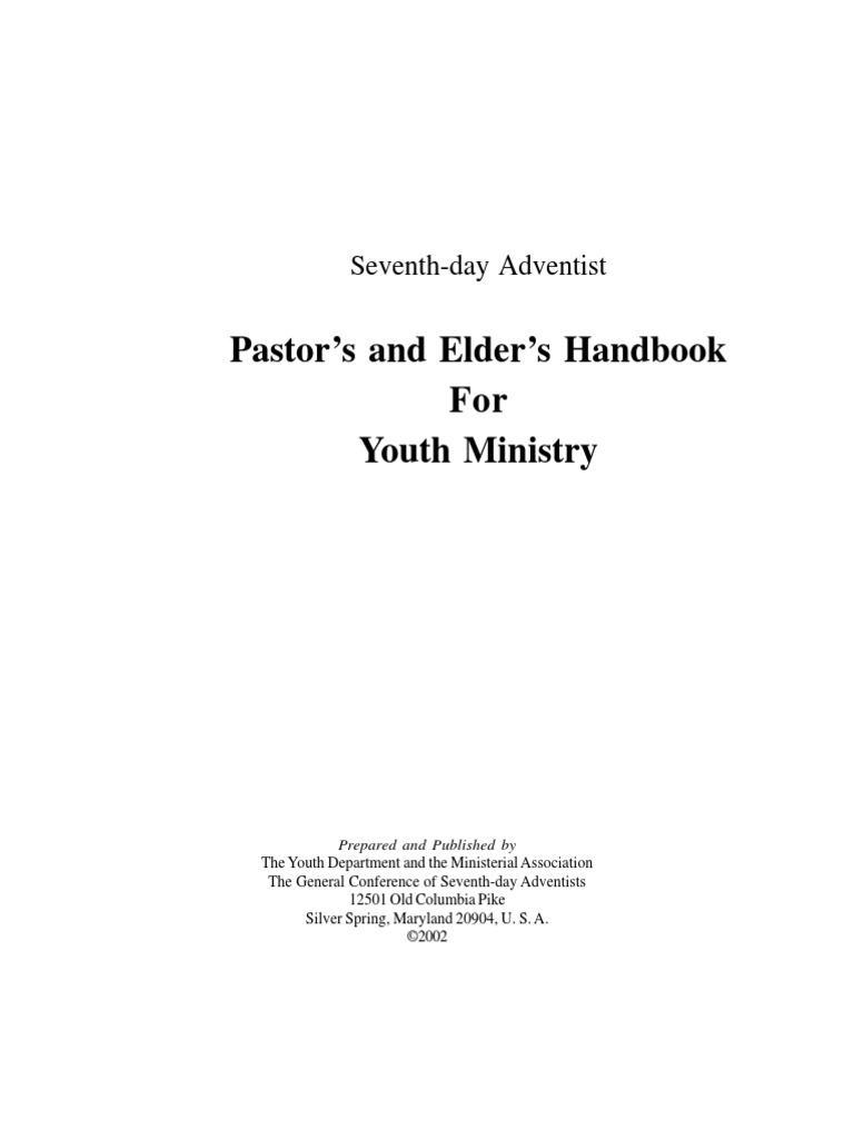 SDA Pastors & Elders Handbook for Youth Ministry | Protestant Youth  Ministry | Seventh Day Adventist Church