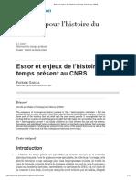 GARCIA_Essor et enjeux de l'histoire du temps présent au CNRS