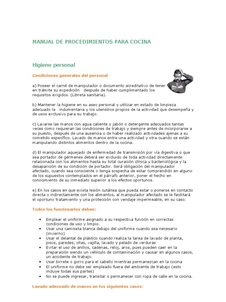 manual de procedimientos para cocina