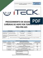 PRO-PRE-025 Soldadura de Termofusión de HDPE Rev.A