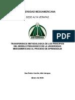 TRANSFERENCIA METODOLOGICA DE LOS PRINCIPIOS DEL MODELO PEDAGOGICO DE LA UNIVERSIDAD MESOAMERICANA