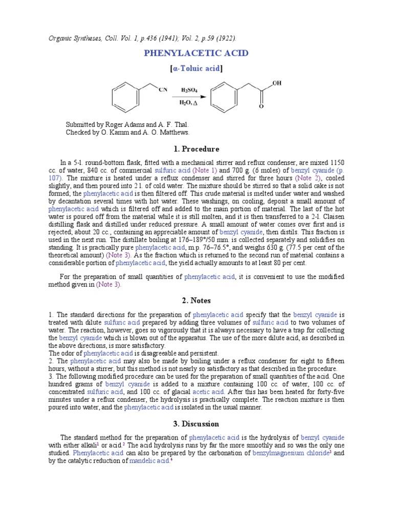PAA from BzCN   Distillation   Acid