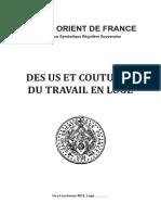 Grand Orient de France - Des Us Et Coutumes Du Travail en Loge