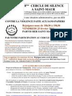 Appel à participer au 18ème Cercle de Silence de Saint-Maur