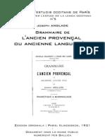 Joseph ANGLADE - Grammaire de l'ancien provençal ou ancienne langue d'oc