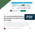 20 Recomendaciones Para Destrabar Al Sector Privado en Cuba OnCubaNews