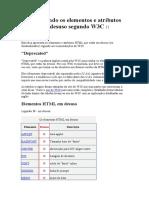 elementos e atributos HTML em desuso segundo W3C