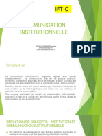 COMMUNICATION INSTITUTIONNELLE IFTIC-1