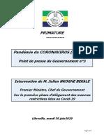 GABON 15 Premier Ministre Point Presse 3 Phase 1 Dallègement Des Mesures Restrictives 20200630