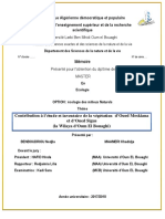 Contribution à l'etude et inventaire dela végétation d'Oued