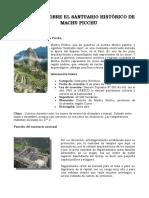 68265896 Informe Sobre El Santuario Historico de Machu Picchu