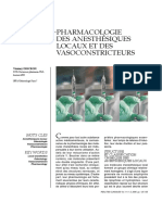 Pharmacologie Des Anesthésiques Locaux Et Des Vasoconstricteurs