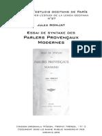 Jules RONJAT - Essai de syntaxe des parlers provençaux modernes