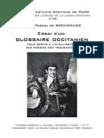 Henri Pascal de ROCHEGUDE - Essai d'Un Glossaire Occitanien