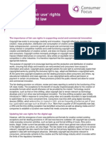Consumer Focus Options, Fair Use Rights in UK Copyright Law