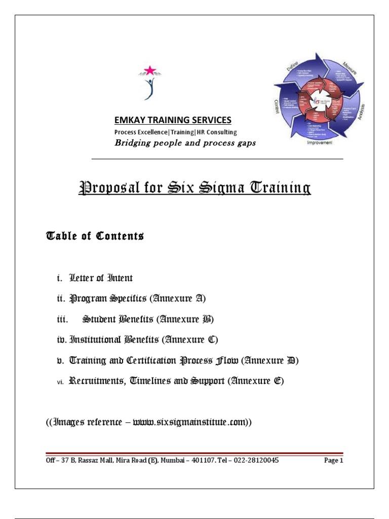 Six Sigma Workshop Proposal Six Sigma Expert
