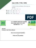 Aula 2406 2506 e 0107 e 0207 1 D imagem e sinal da função quadrática