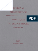 Myriam Bienenstock - Politique du Jeune Hegel. Iéna 1801-1806. (19992) - libgen.li