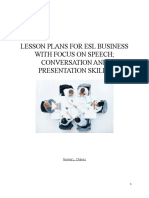 Lesson Plan for ESL Business with focus on speech