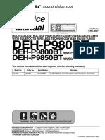 Service (repair) manual for Pioneer DEH-P9800BT