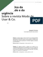 A Joaquín Correa Uma Poetica Da Necessidade e Da Urgencia Sobre a Revista Modo de Usar e Companhia