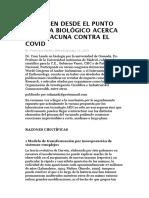 DICTAMEN DESDE EL PUNTO DE VISTA BIOLÓGICO ACERCA DE LA VACUNA CONTRA EL COVID