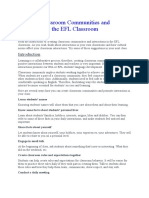 Creating Classroom Communities and Interaction in the EFL Classroom
