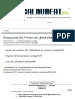 Bacalaureat 2017 Model de subiect si barem Sociologie - Bacalaureat