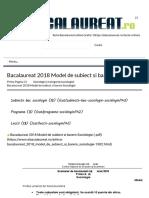 Bacalaureat 2018 Model de subiect si barem Sociologie - Bacalaureat