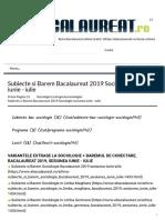Subiecte si Barem Bacalaureat 2019 Sociologie sesiunea iunie - iulie - Bacalaureat