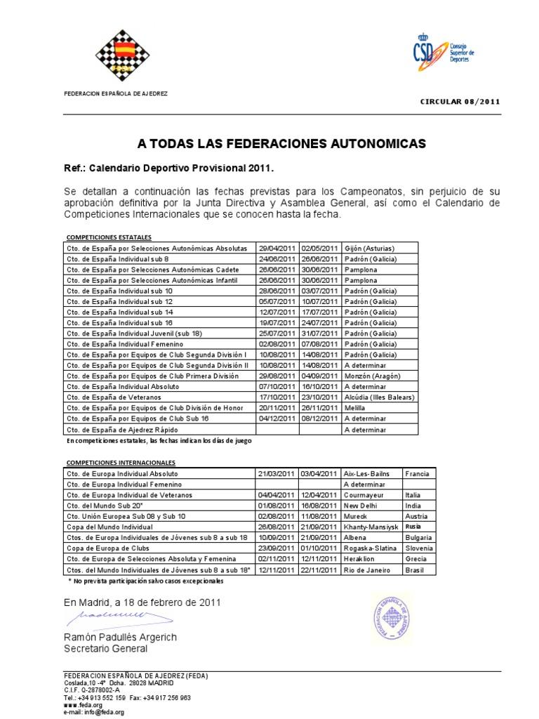 Calendario 2011 Espana.Calendario Provisional Feda 2011