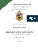 Diseño Estructural de Una Institución Penitenciaría Sismorresistente Con Losas de Concreto Postensado Para La Provincia de Nor Cinti – Camargo