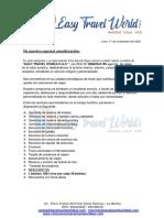 CARTA DE PRESENTACION EASY TRAVEL WORLD