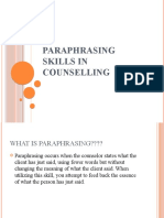 PARAPHRASING SKILLS IN COUNSELLING ppt