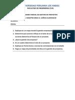 Primer Examen Parcial de Gestion de Proyectos