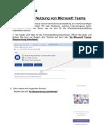 Anleitung zur Nutzung von Microsoft Teams