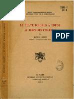BdE 20-1 Alliot, Maurice - Le culte d'Horus à Edfou au temps des Ptolémées (1949) LR
