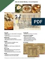 Menus de La Cuisine de Meme Moniq Du 23 Au 29 Janvier