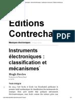 Musiques électroniques - Instruments électroniques _ classification et mécanismes - Éditions Contrechamps