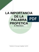LA IMPORTANCIA DE LA PALABRA PROFETICA