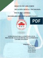 Trabajo Grupal - Estrategias Para La Enseñanza en El Proceso de Lectoescritura de Las Personas Con Discapacidad