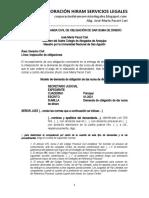 Modelo Demanda de Obligación de Dar Suma de Dinero - Autor José María Pacori Cari