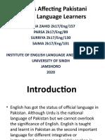 Factors Affecting Pakistani English Language Learners